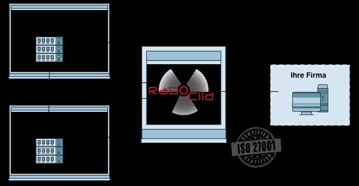 Vereinfachte Infografik über die Verbindungen zwischen allen Parteien und RaDoClid