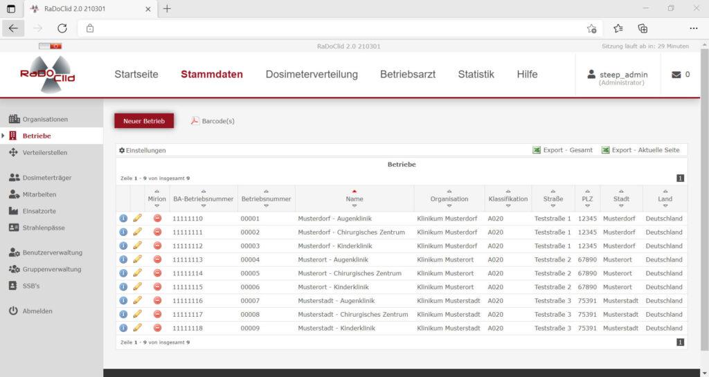 Screenshot der Software RaDoClid